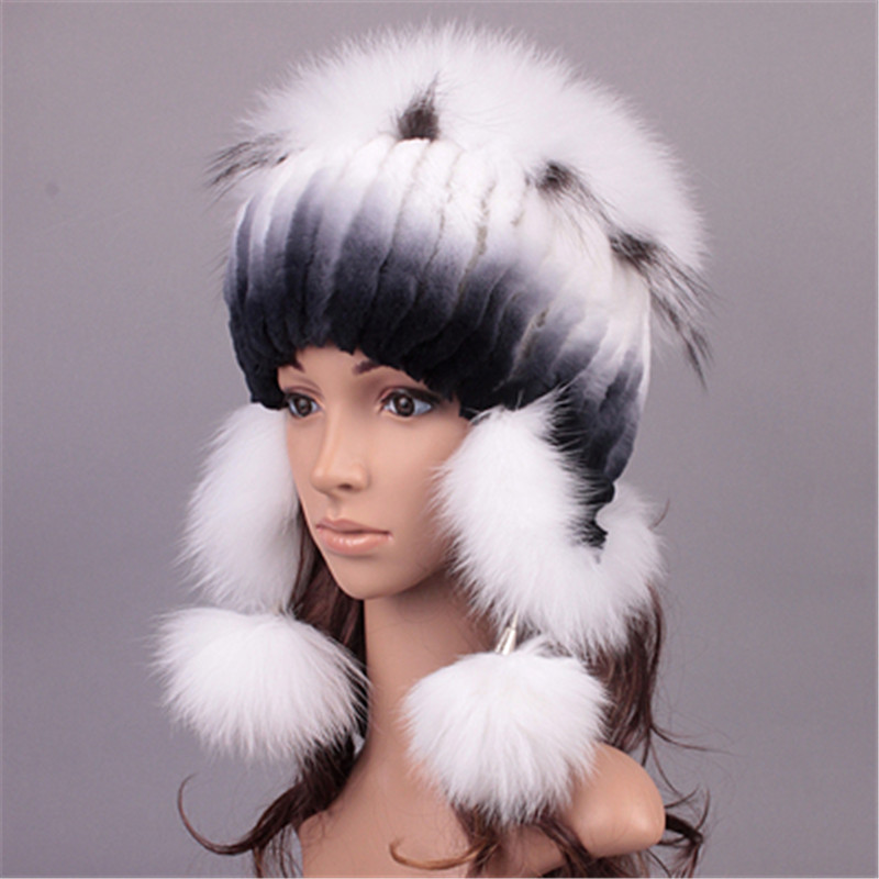 superior quality Rex fur rabbit Knitted hat + Silver fox fur natural winter womens hats with fur russian fur hats for womenОдежда и ак�е��уары<br><br><br>Aliexpress
