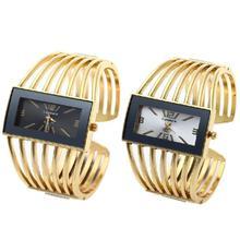 Fashion Women's Golden Bangle Bracelet Analog Wrist Watch Wristwatch Hollow Alloy Band White Black Dial