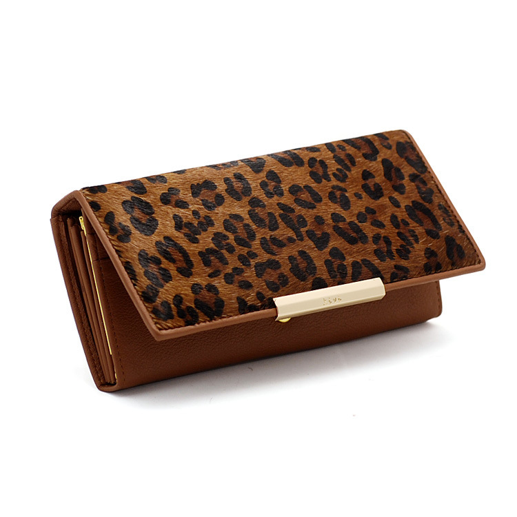 Women's Genuine Leather Leopard Wallets Womens Brand Design Horsehair Stylish Purses Girls Ladies' Fashion Day Clutch 5 Colors - Vivi Collection store