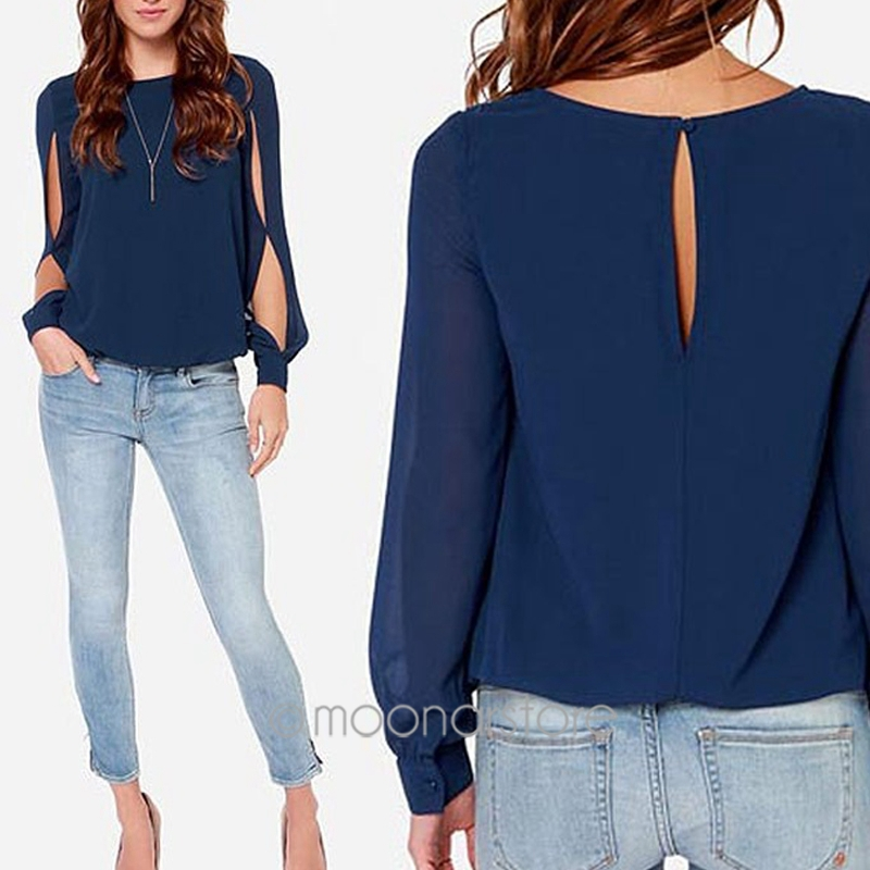 2014 Women Blouse Spring Fashion Long Sleeve Tops Hollow Out Chiffon Blouse Plus Size XXL casual Blusas XE3272#S10(China (Mainland))