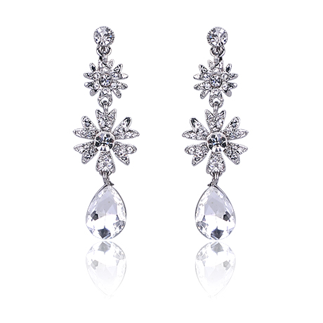 18K White Gold Vintage Antique Design Chandelier Dangle Earrings Drop Earrings(China (Mainland))