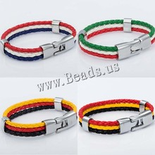 2015 World Cup National Flags Sports 3 Strands Rope Braided Surfer Leather Bracelets Mens Bracelets (8inch Long) (China (Mainland))