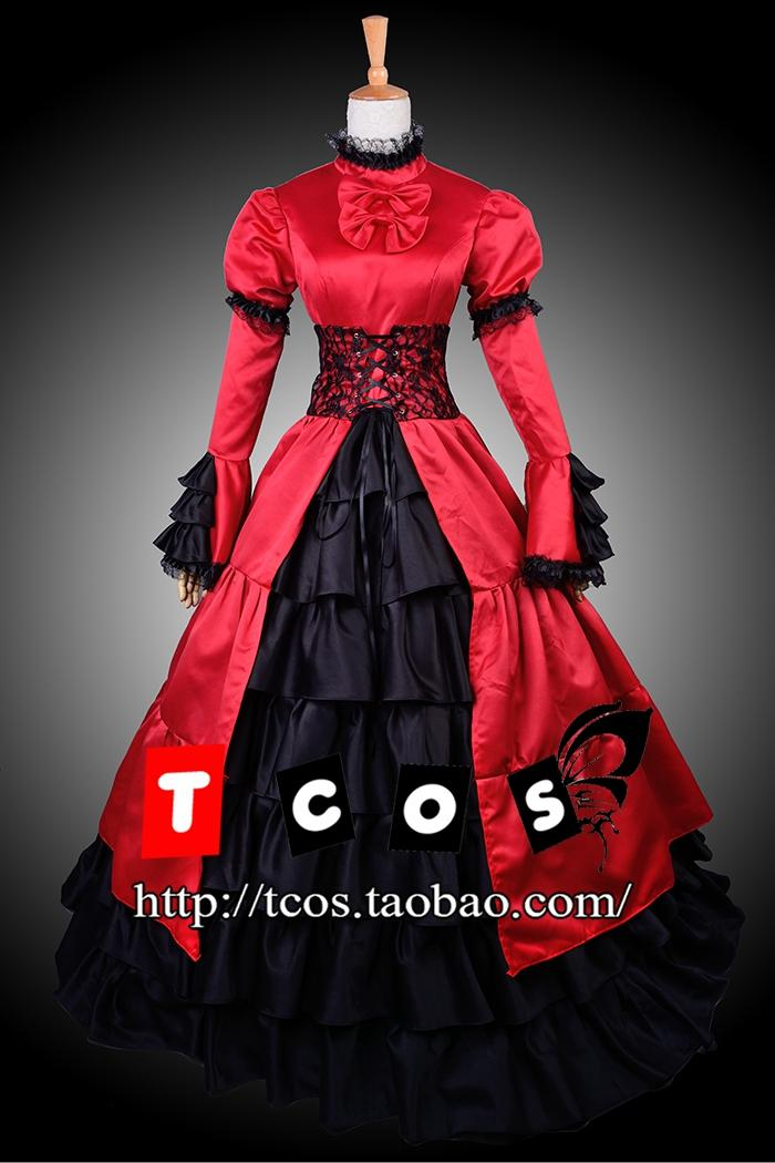 Cosplay Aristocratic Slick-Chic Vintage Womens Dress Long Skirt Red Long-Sleeved Evening Dress Gown Rode CostumeОдежда и ак�е��уары<br><br><br>Aliexpress