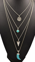 New fashion jewelry antique silver plated moon turquoise multi layer necklaces gift for women girl N1739