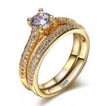 Vecalon 3 màu sắc Những Người Yêu Thích nhẫn Set 5A Zircon Cz Vàng đầy 925 bạc Engagement wedding rings Nhạc đối với phụ nữ Bridal đồ trang sức(China)