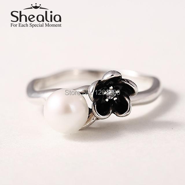 2015 новые белые кольца 925 серебряные цветы циркон кольца для женщин известный бренд ювелирных изделий SH0565