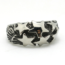 Mens Boys 316L Stainless Steel Punk Gothic Star Silver Ring Newest Design