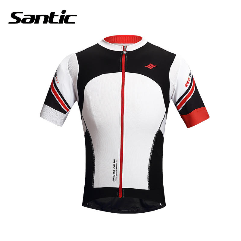 SANTIC Outdoor Sports Cycling Short Sleeve Jersey Men's Breathable Quick Dry MTB Road Bike Bicycle Cycling Jersey Tops Clothing