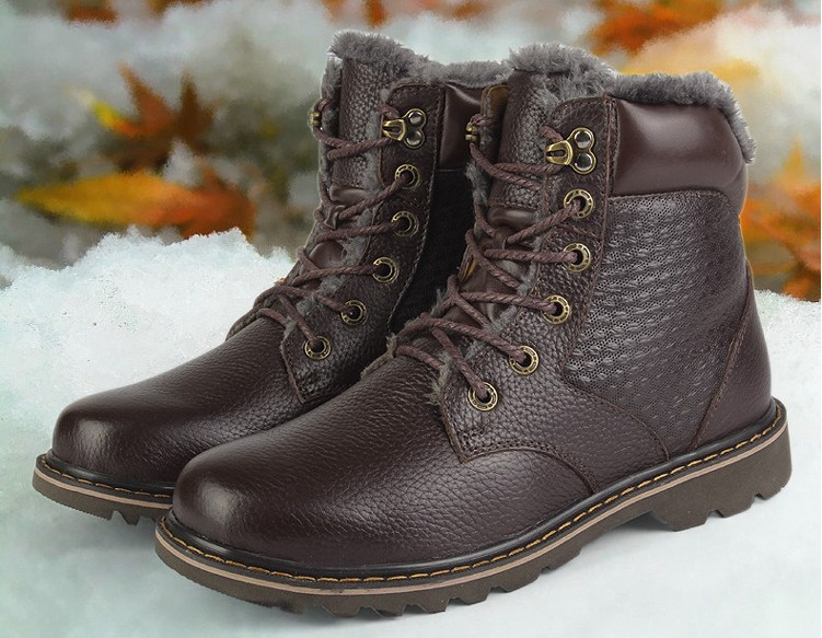 2015 Mens Winter Shoes Warmest Snow Boots Men Velvet Fur Genuine Leather Plus size Men's #J118