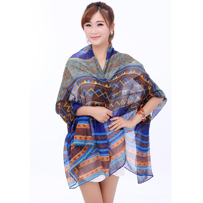 Fashion Brand Design Soft Shawl Winter Scarves Elegant Bohemia Printed Voile Long Scarf 1S019(China (Mainland))