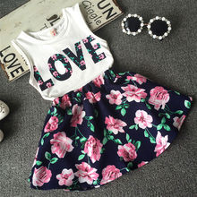 2016 New Fashion Cute Baby Girls Clothes Set Summer Sleeveless T-Shirt Top and Floral Skirt 2PCS Little Girls Outfit Set(China (Mainland))