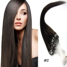18″-22″Loops Micro Rings Beads Tipped Remy Human Hair Extensions 1g/stand Straight for Women Beauty Style Micro Loop Hair