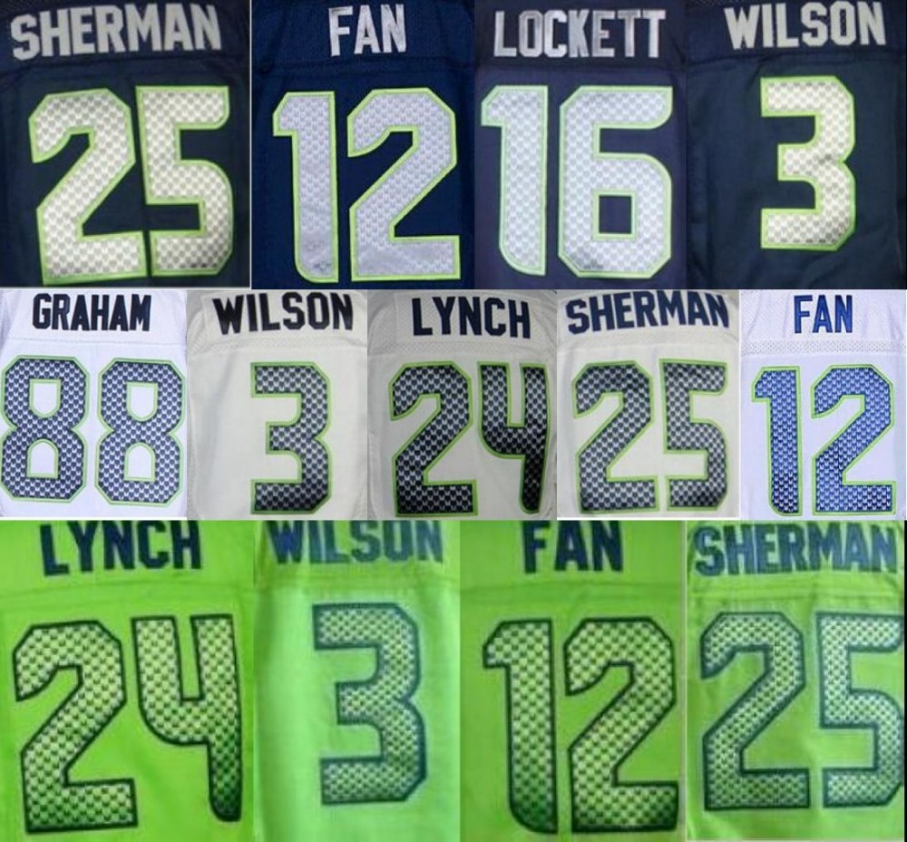 MENS 25 Richard Sherman jersey 24 Marshawn Lynch #3 Russell Wilsons 31 Kam Chancellor Jimmy Graham elite jersey(China (Mainland))