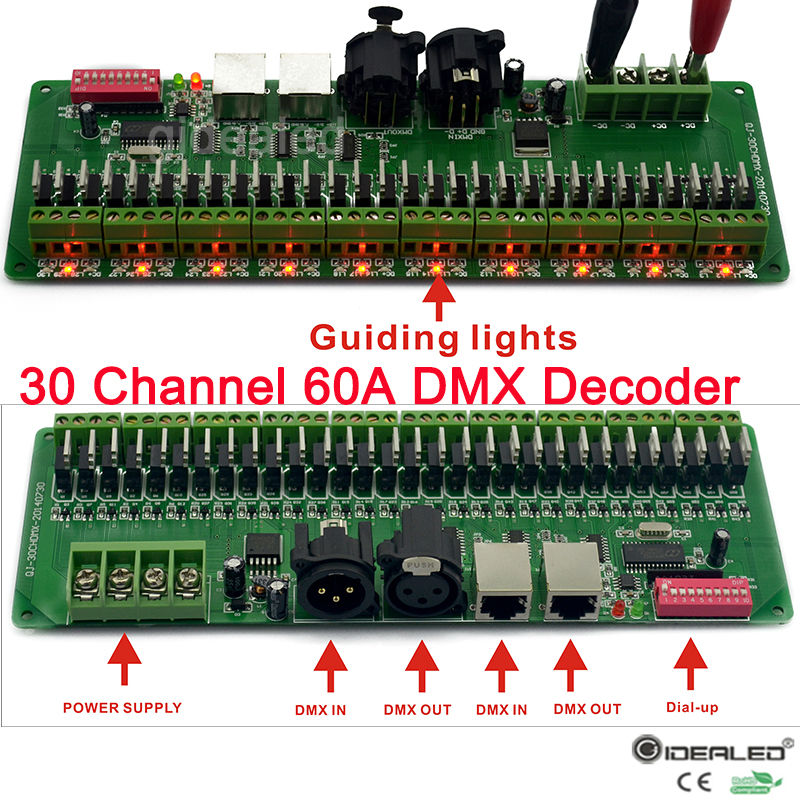 27channels / 30 channel 60A DMX decoder with RJ45 and XLR Plug DMX 512 RGB controller input DC9-24V for RGB RGBW led lights(China (Mainland))