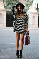 качество новой моды женщин сексуальные шифоновые свободные Топ длинный рукав партии короткое мини-платье