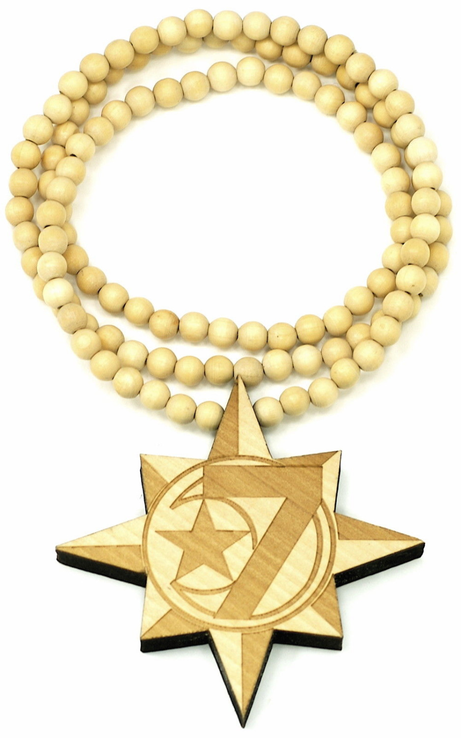 Allah 7 Moon & Star Pendant Good Wood NYC Hip-Hop Wooden Fashion Rosary Necklace(China (Mainland))