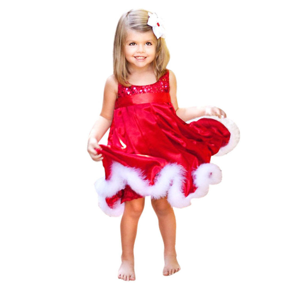 Feitong new baby girls kids christmas party red dress 2016 sequin