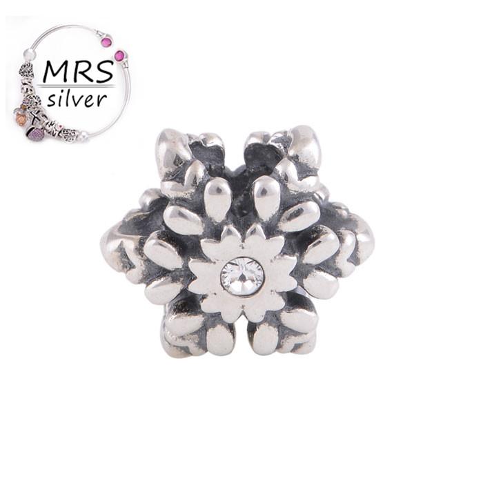 Antique Tibetan Silver Spacer Charms European Bead Charm Flower Silver 925 Diy Fit Pendant Bracelet Silver