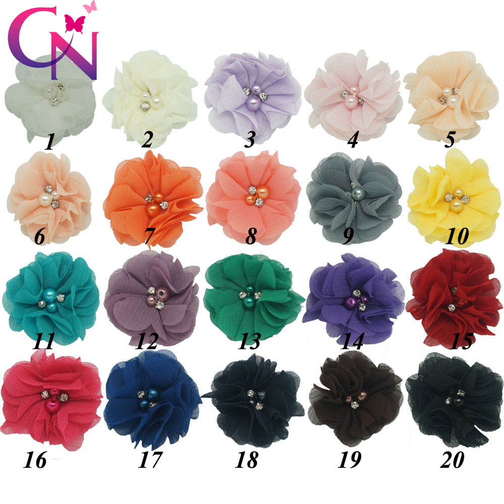 "20 Pcs/lot 2"" High Quality Fashion Handmade Boutique Cute Mini Beaded Chiffon Flower With Rhinestone For Baby Hair Accessories(China (Mainland))"