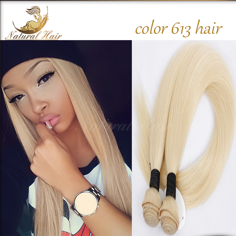 #613 Straight Hair Double Weft Blonde Brazilian Remy Human Hair Weaves 3pcs/lot Extensions Machine Weft  Free Shipping<br><br>Aliexpress