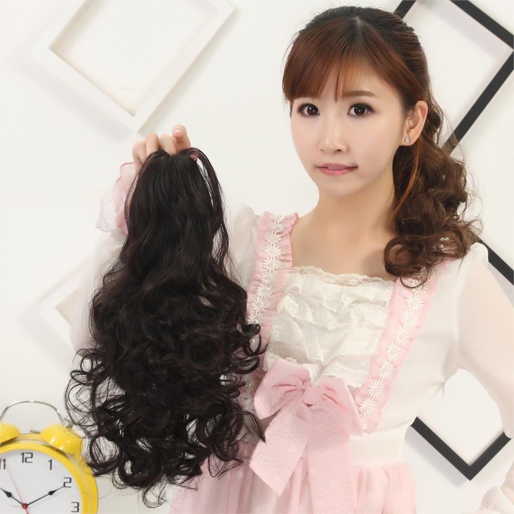 22 5 Color Long Wavy Hair Synthetic Claw Clip Drawstring Ponytail Extensions Fake Tress Hairpieces My Little Pony Tail<br><br>Aliexpress