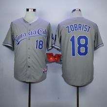 Mens KC High Quality 16 Bo Jackson 18 Ben Zobrist Throwback Jerseys color blue gray white(China (Mainland))