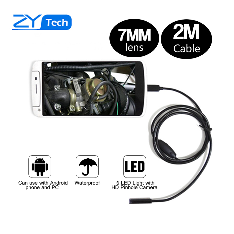 2m Waterproof USB PC Android Endoscope with 7mm 6LED Lens HD Pinhole Camera Inspection Borescope Endoscopy for Android Phone PC(China (Mainland))