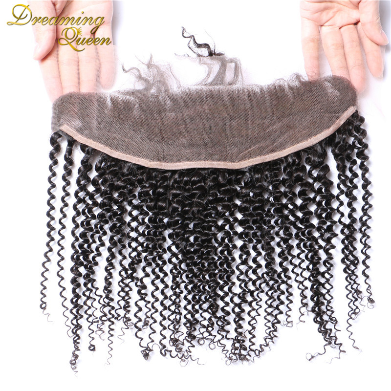 Здесь продается  --DHL Free Shipping Brazilian Kinky Curly Lace Frontal Closure 7A Grade Bleached Knots Human Hair 13X4 Ear to Ear With Baby Hair  Волосы и аксессуары