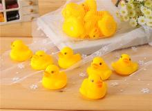 Wholesales 100pcs/lot 4x4cm Cute Baby Girl Boy Bath Bathing Classic Toys Rubber Race Squeaky Ducks Yellow Sale(China (Mainland))