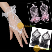 DollarStore buyable 1 Pair Nice Sexy Fingerless Wedding Evening Party Dress Lace Short Bridal Gloves Excellent new(China (Mainland))