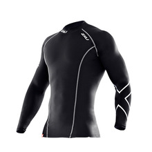 Male 2xu Compression Tight Tops UV-proof Long Sleeved Round Neck Shirt Gym Soccer Jerseys Trainning Exercise Surfing Beach(China (Mainland))