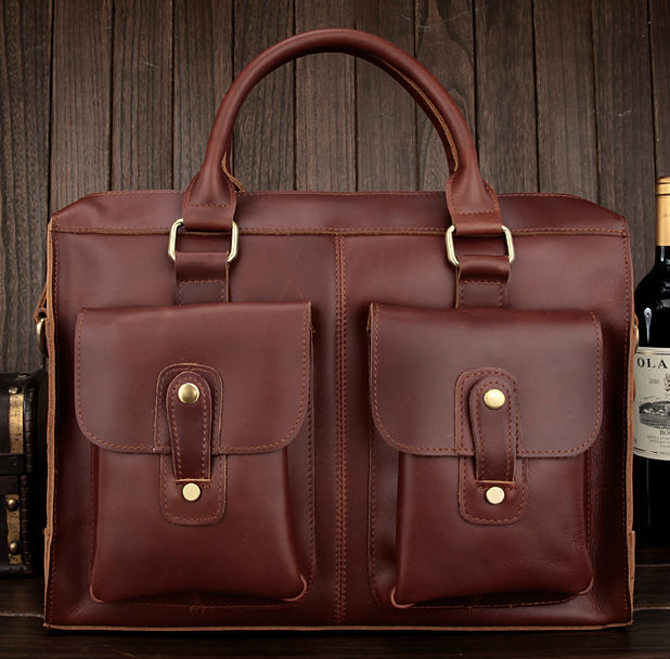 Hot Selling Genuine Leather Red Brown Laptop Bag Messenger Bag Mens Briefcase Free Shipping<br><br>Aliexpress