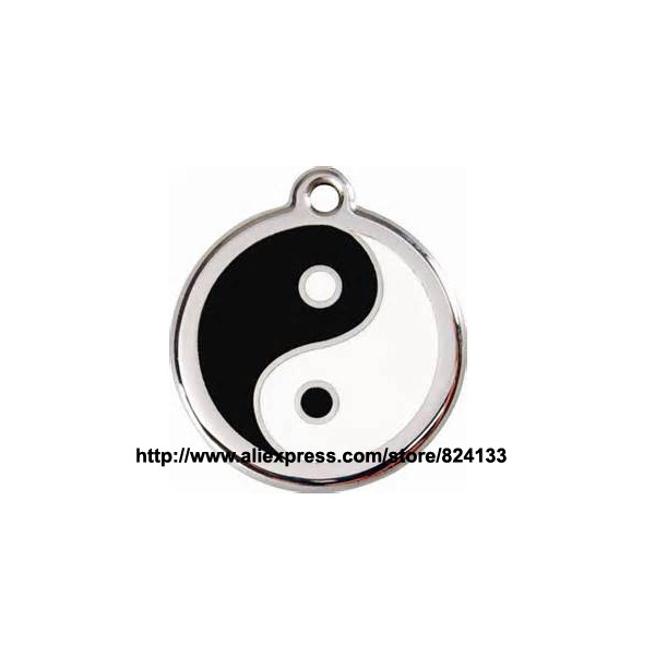 personalized yin yang design dog tag engraved pet name tags custom metal id tag for pets,free shipping(China (Mainland))
