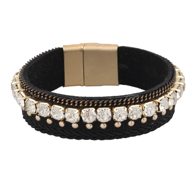 2015New arrive,European and American Style Fashion product,Rhinestone Two-color Leather Alloy Bracelet Fashion Jewelry Wholesale(China (Mainland))