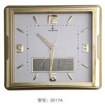 Modern square wall clock, LCD calendar golden wall clock, personality, contracted mute wall clock(China (Mainland))