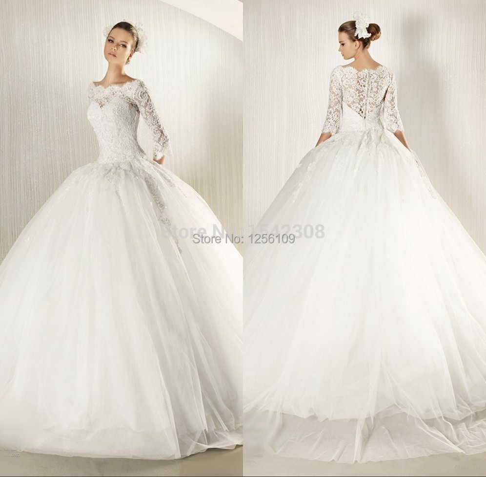 Free shippingnew modest bridal gown custom ball gown 2015 for Lace white wedding dress