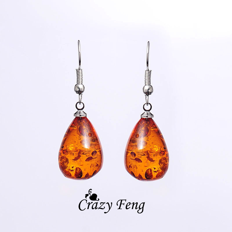 Fashion Jewelry Charming Silver vintage Drop earrings 18K Platinum Plated Amber African Jewelry Dangle Earrings Free Shipping(China (Mainland))