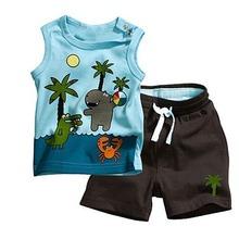 Babys мальчик кокосовой пальмы картины рукавов топы брюки комплект наряды 2 шт. 0-3Year(China (Mainland))