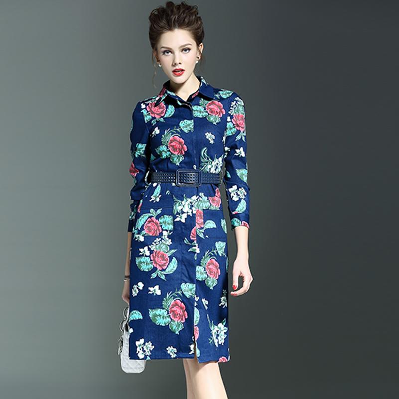 Print Dress 2016 Spring Cowboy Star Brand Fashion Runway Long Sleeve Ankle-Length Belt Double Pockets Turn-down Collar Dress(China (Mainland))