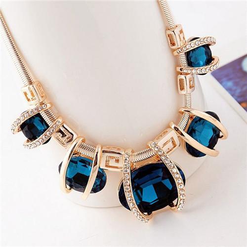 New 1 Pcs 2 Colors Women Lady Grace Oval Crystal Choker Bib Statement Chunky Collar Necklace Pendant Chain Jewelry freight(China (Mainland))