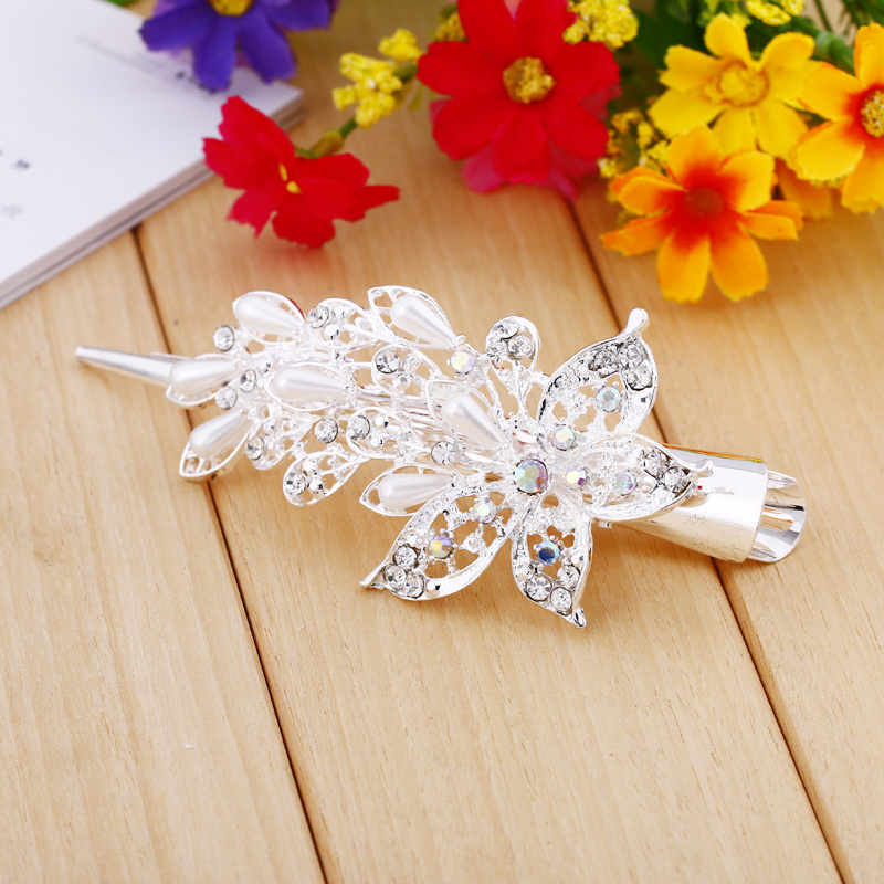 2015 Crystal Flower Rhinestone Hair Pins Hairpin Clip Barrette Twinkling Hairpin Hot hot sale gift hair accesories metal gift(China (Mainland))