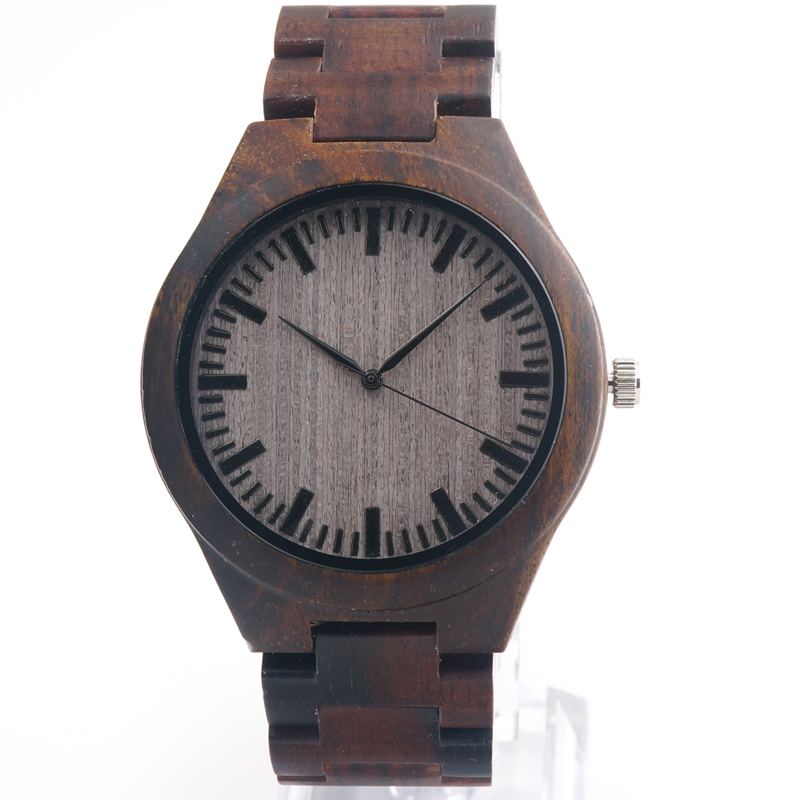 Ebony wooden watch wood straps quartz watches reloj Brand Designer casual style watch for Men Christmas Gift accept OEM(China (Mainland))