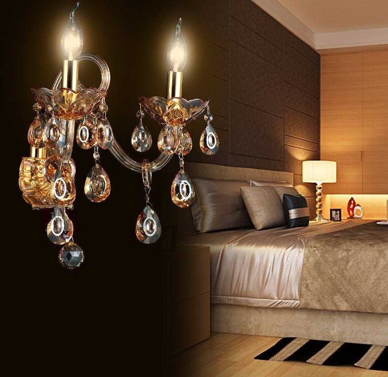 Фотография modern fashion Wall Lamps crystal K9 Luxury Bed room Living room  candle crystal wall lamp aisle lights  wall lights