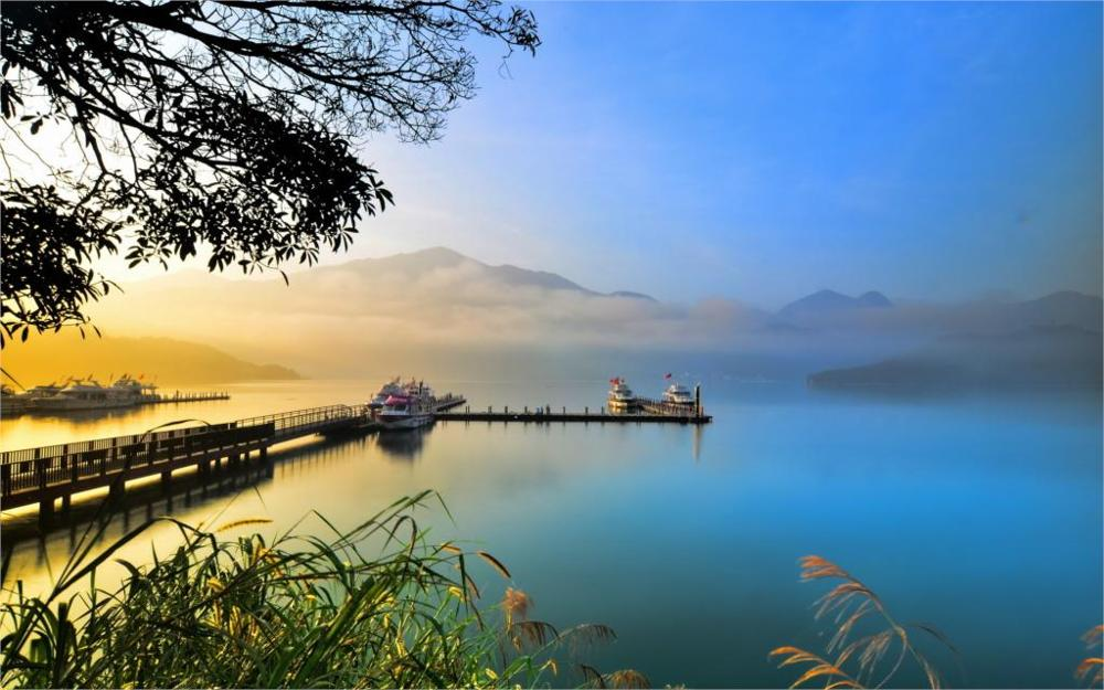 Living room home wall decoration fabric poster Nature Landscape Lake boat dock(China (Mainland))