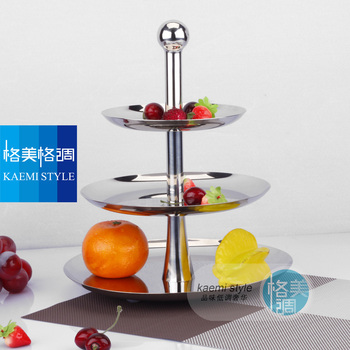 high quality fruit plate candy tray stainless steel fruit plate three-tier  fruit  compotier