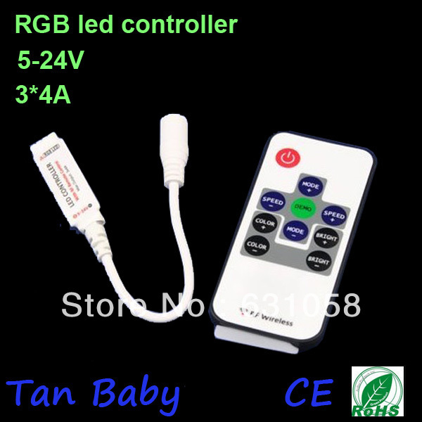 10pcs/lot,mini RGB controller with RF remote control,DC12V led controler with power supply socket for led strip light,Retail