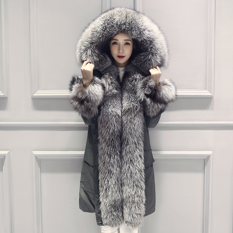 EvenDing real fox fur collar 2015 new winter thick warm coat jacket and long sections loose women fur coat(China (Mainland))