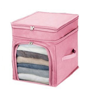 new Bamboo charcoal non-woven visual clothings finishing bag bin increased freedom - pink with cover organizer storage bag(China (Mainland))