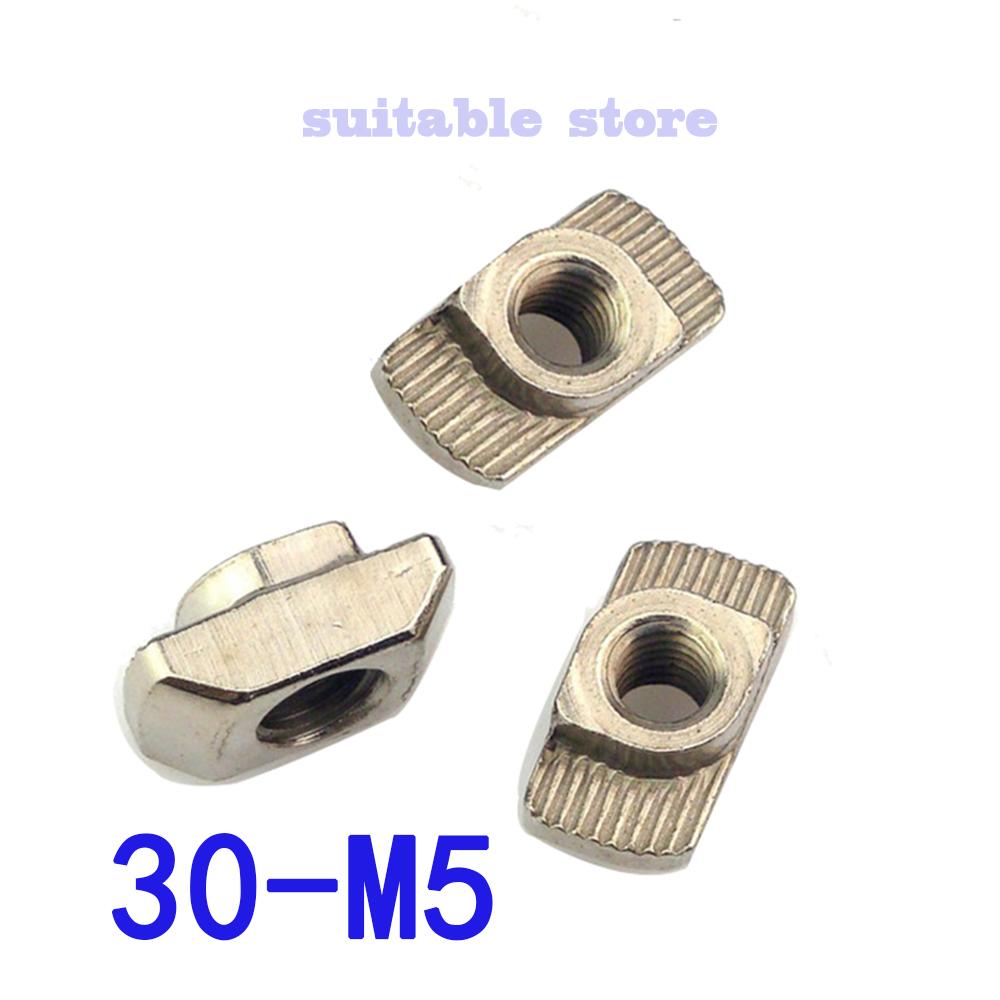 (100PCS) 30# M5 Nickel Plated Carbon Steel Hammer Nut Aluminum Connector T Fastener Sliding Nut For 3030 Aluminum Profile<br><br>Aliexpress