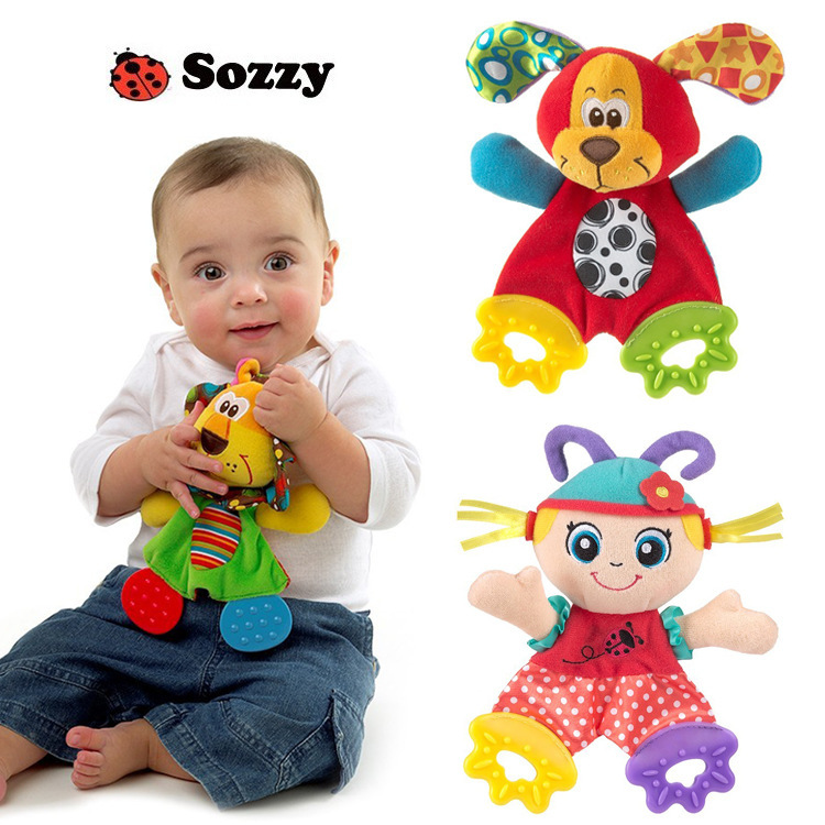 3 Pcs/ lots Animal Teether appease paper towel ring features animals to appease the towel handkerchief(China (Mainland))